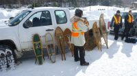 Snowshoe demonstration by park rangers in Algonquin Park