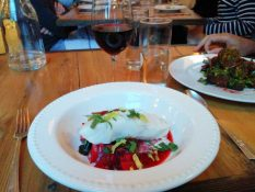 Halibut and Spicy Borscht at Saltwater Farm, Rockport, ME