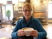 Gina with a 'bol' of coffe at Cafe Hobbit