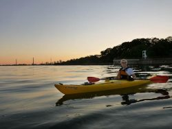 Sunset kayaking on Lake Ontario from our local beach