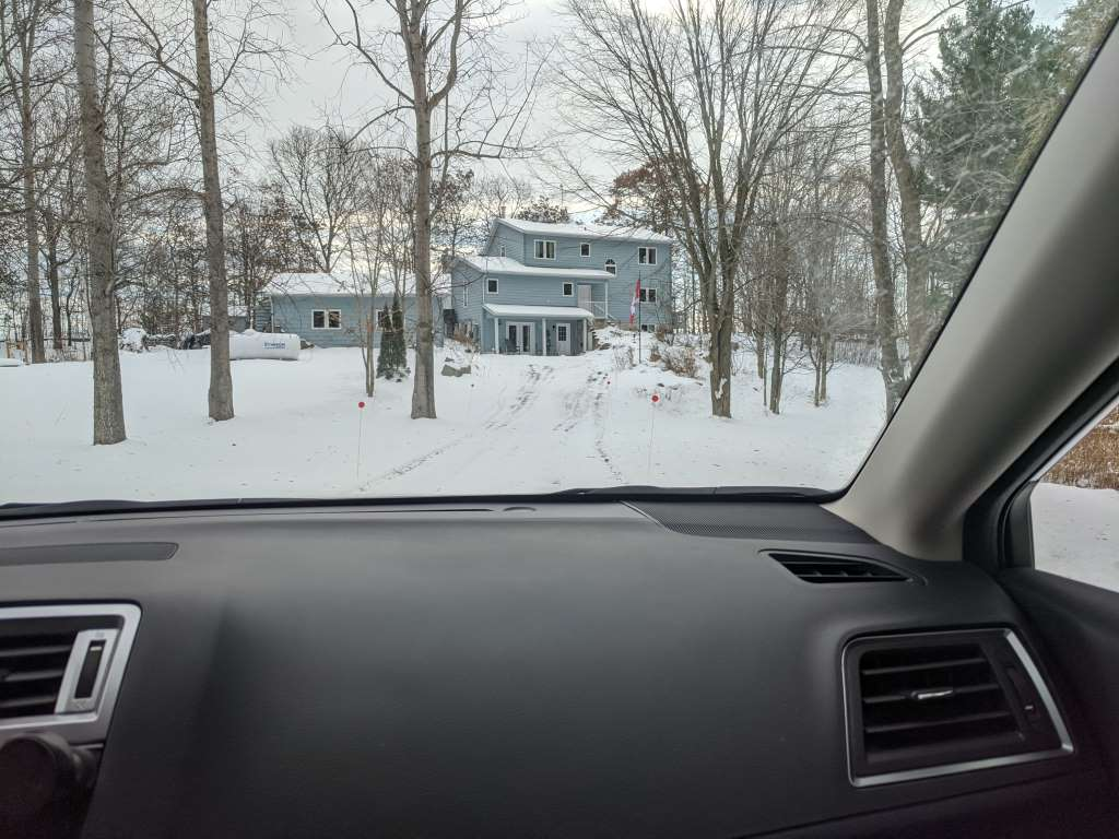 Arriving home to snow!